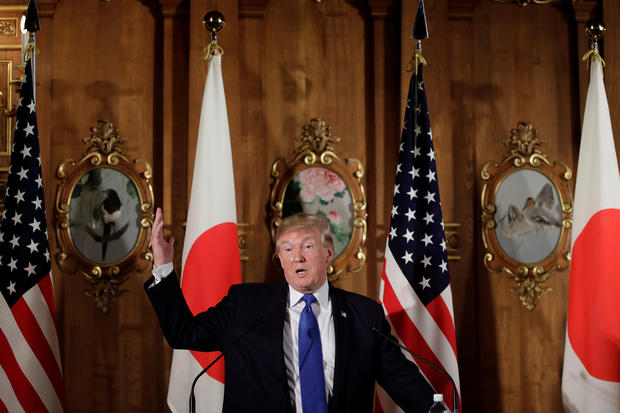 U.S. President Donald Trump speaks during a news conference with Shinzo Abe, Japan's prime minister, not pictured, at Akasaka Palace in Tokyo