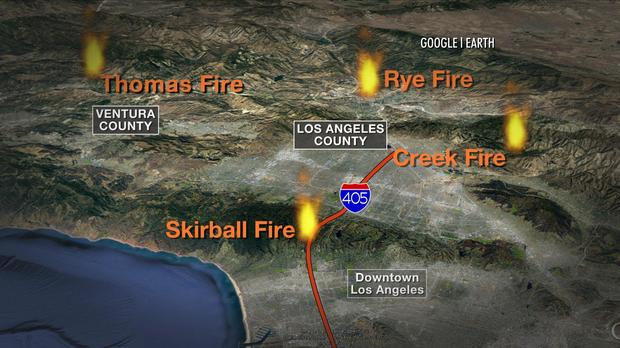 A map shows where wildfires are burning in Southern California.
