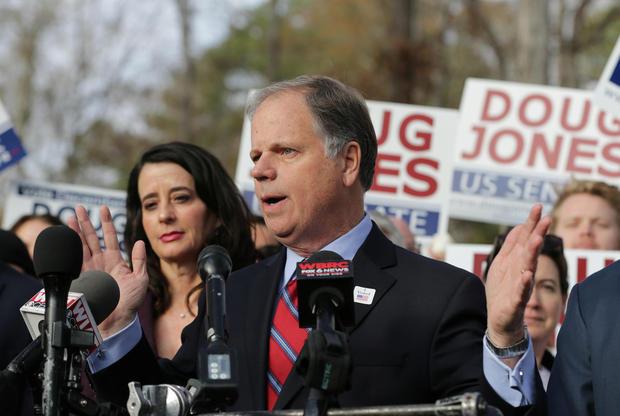 Democratic Alabama U.S. Senate candidate Doug Jones votes at Brookwood Baptist Church in Mountain Brook