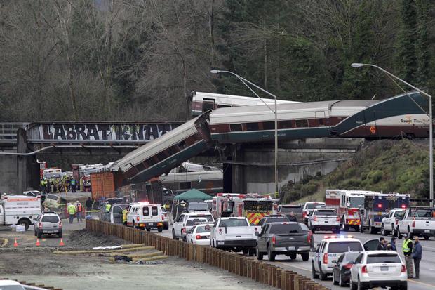 The scene where an Amtrak passenger train derailed in DuPont