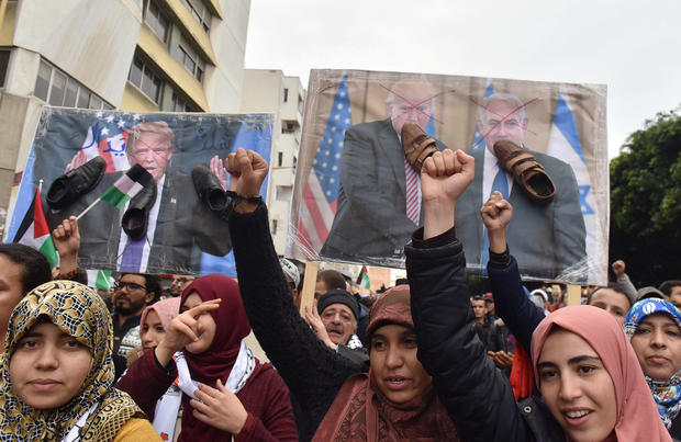 Demonstrators shout slogans during a protest against the U.S. intention to move its embassy to Jerusalem and to recognise the city of Jerusalem as the capital of Israel, in the city of Rabat